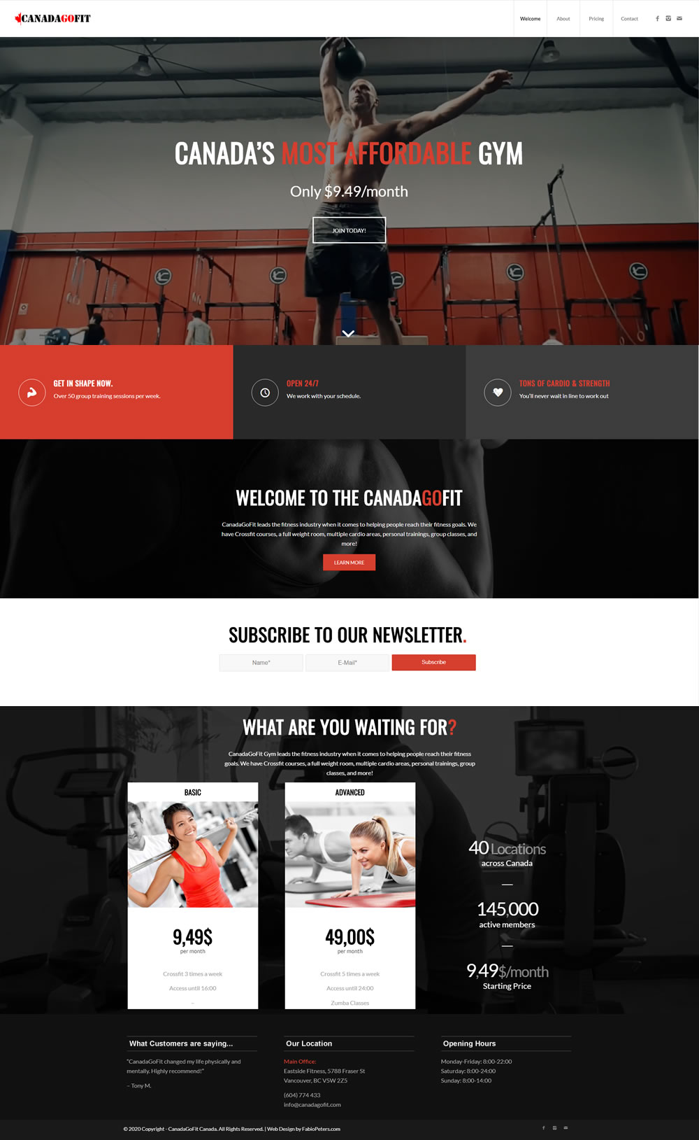Fitness WordPress Website Design