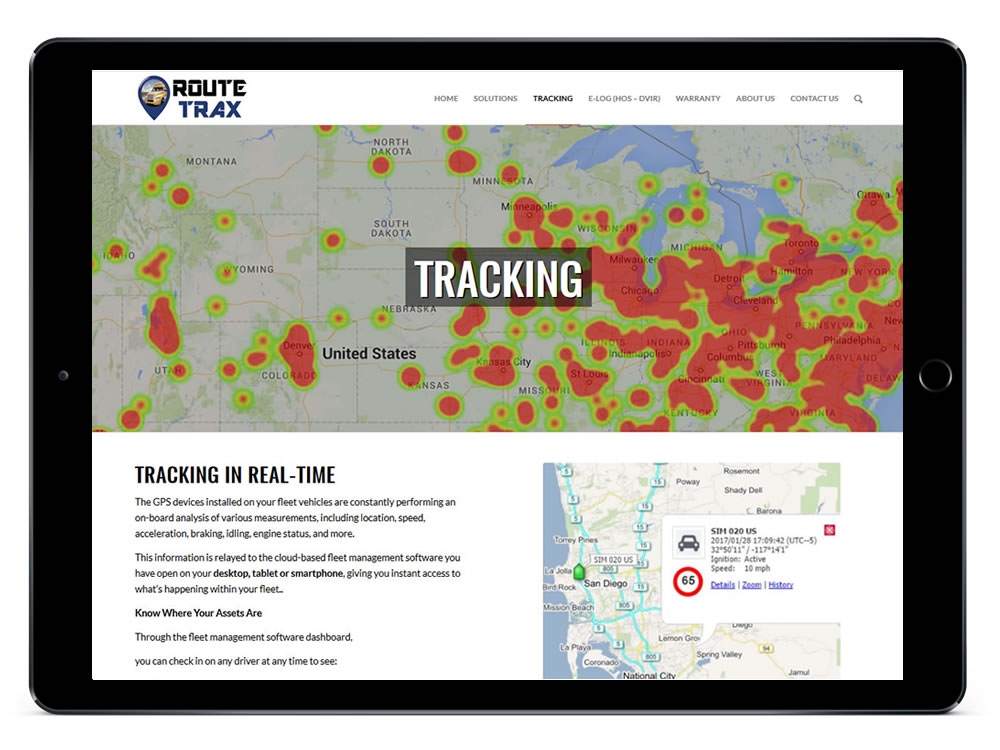 RouteTrax Tracking Web Page