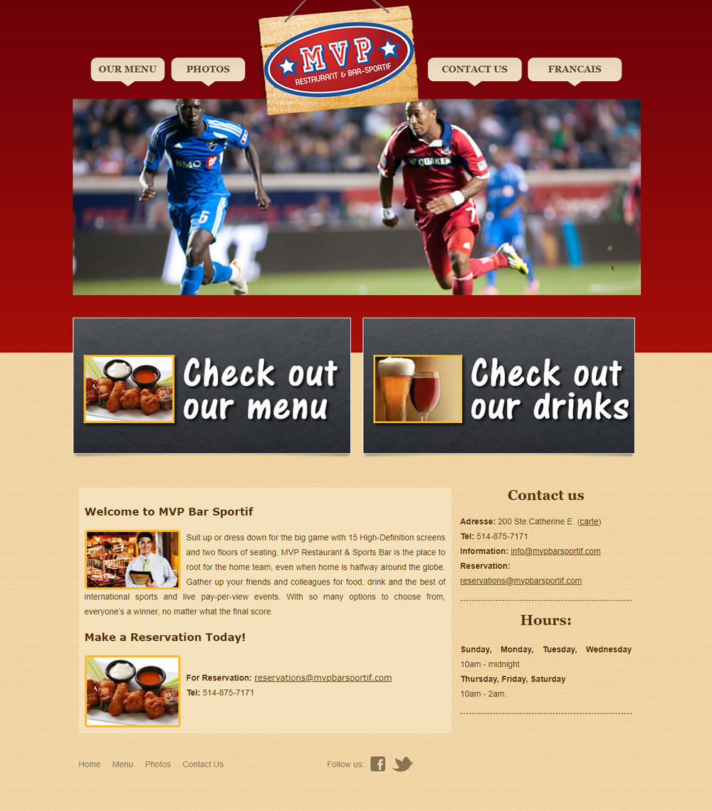 Sports Bar Website Design